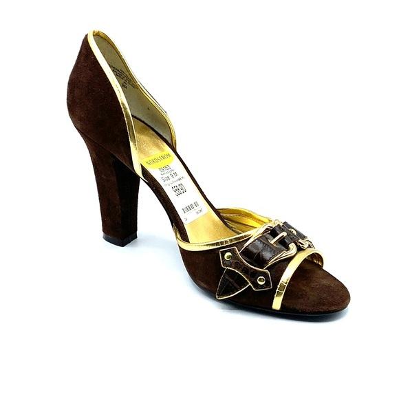 Nine West Shoes - Nine West 9 block heel open toe with gold accent